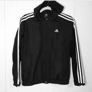 Adidas Black White Stripes Logo Windbreaker